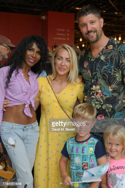 Sinitta Laura Hamilton Alex Goward and children attend the press performance of Peter Pan at the Troubadour White City Theatre on July 27 2019 in...