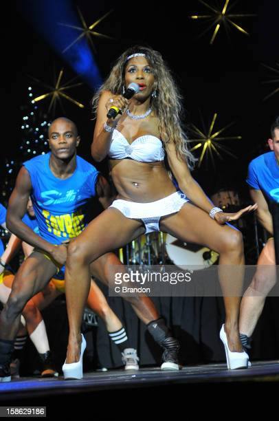 Sinitta performs on stage at the Hit Factory Live Christmas Cracker at 02 Arena on December 21 2012 in London England
