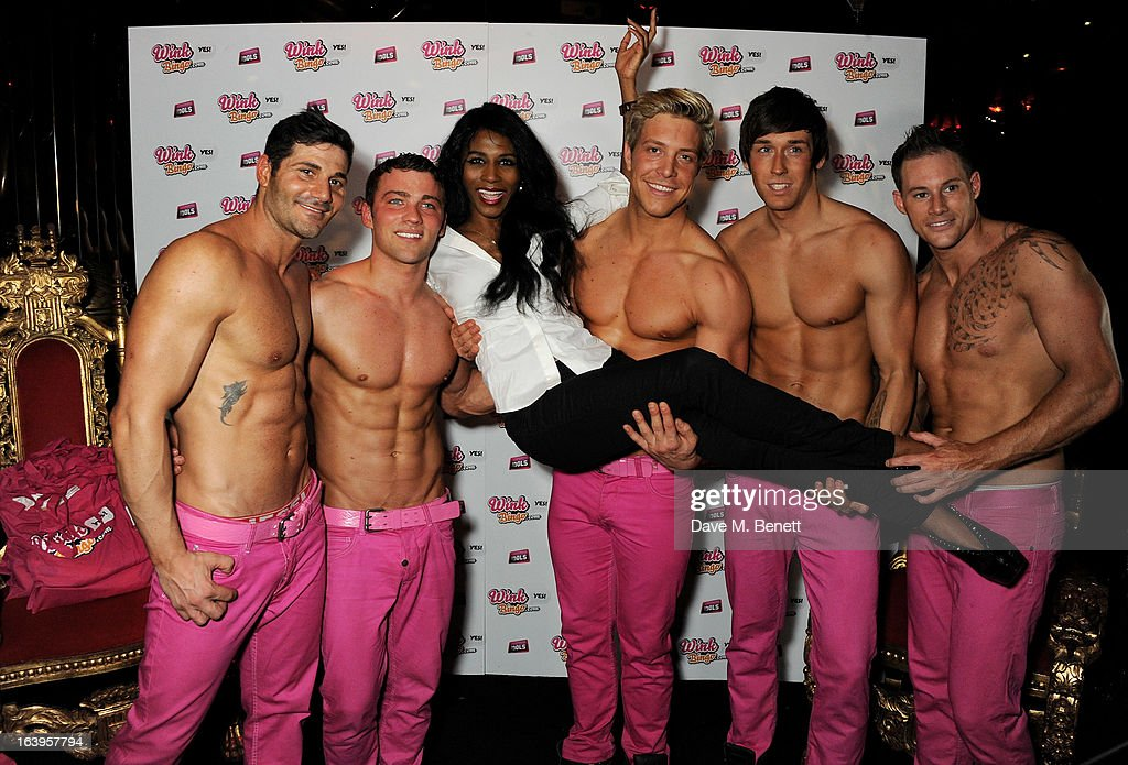 Sinitta (3L) poses with the Dream Idols at Wink Bingo's Gentle Woman's Night featuring a performance from The Dream Idols at Peter Stringfellow's Angels Club on March 18, 2013 in London, England.