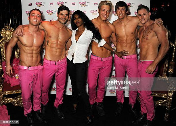 Sinitta poses with the Dream Idols at Wink Bingo's Gentle Woman's Night featuring a performance from The Dream Idols at Peter Stringfellow's Angels...