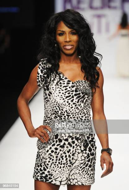 Sinitta walks down the catwalk at Naomi Campbell's Fashion For Relief Haiti London 2010 Fashion Show at Somerset House on February 18 2010 in London...