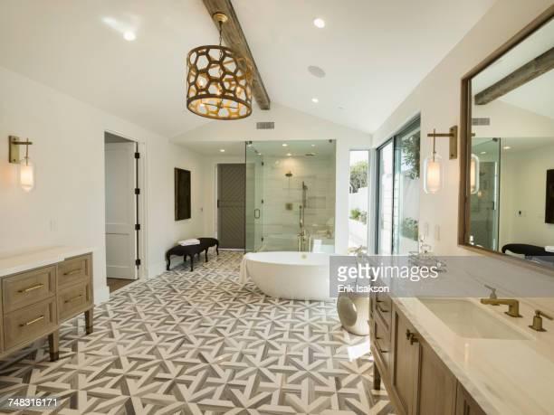 Sink and bathtub in luxury bathroom