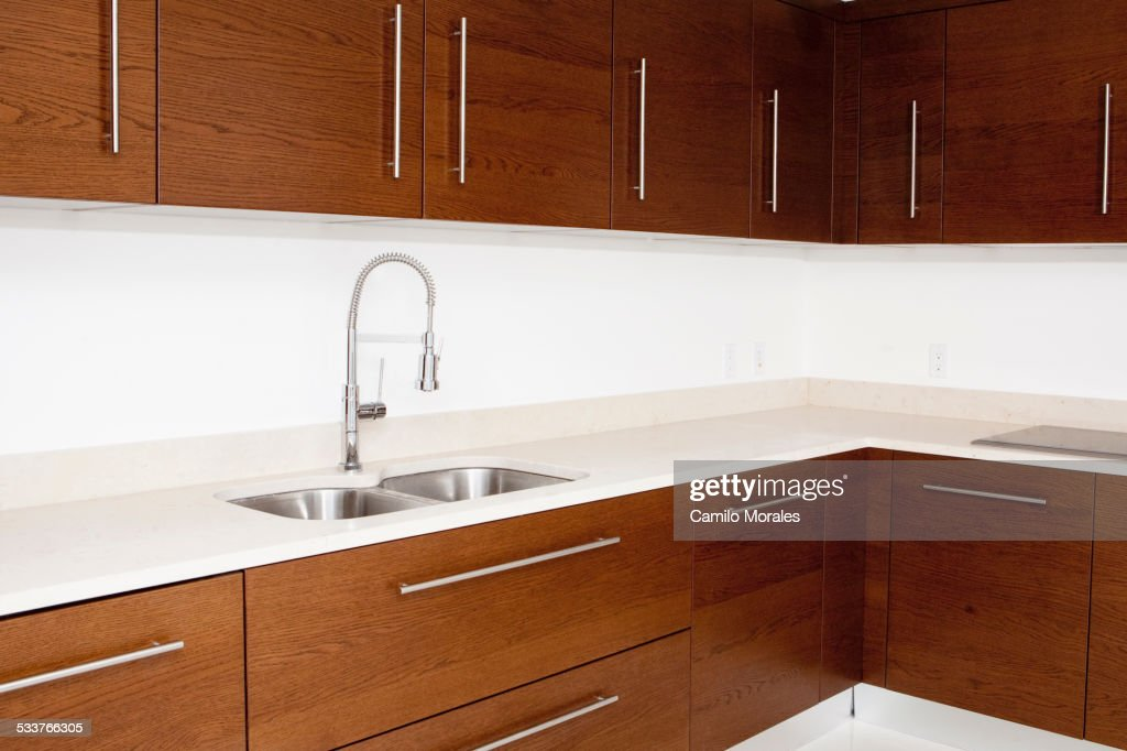 Sink and cabinets in modern kitchen : Foto stock