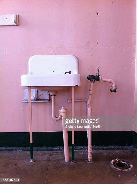 Sink And Pipes In Prison Cell At Alcatraz Island