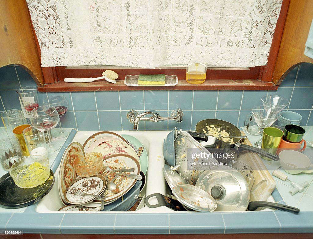 Sink full of dirty dishes : Stock Photo