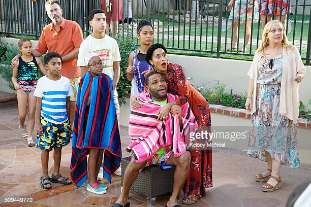 """Sink or Swim"""" - After Dre notices that his neighbor Janine has never invited his family to any of her pool parties, he assumes she is racially..."""
