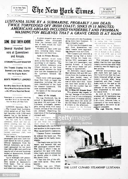 Sinking of Lusitania by German Submarine New York Times Front Page May 8 1915