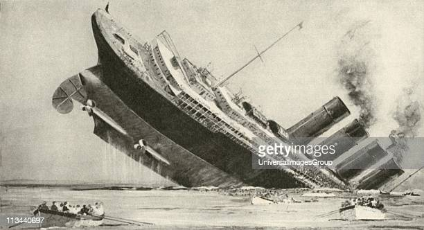 Sinking of the American liner 'Lusitania' after being struck by a torpedo from a German submarine 7 May 1915 A number of passengers drowned Germans...