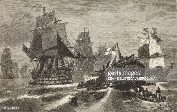 Sinking of the Redoutable after the battle of Trafalgar engraving from a painting by Konstantinos Bolanachi illustration from the magazine The...