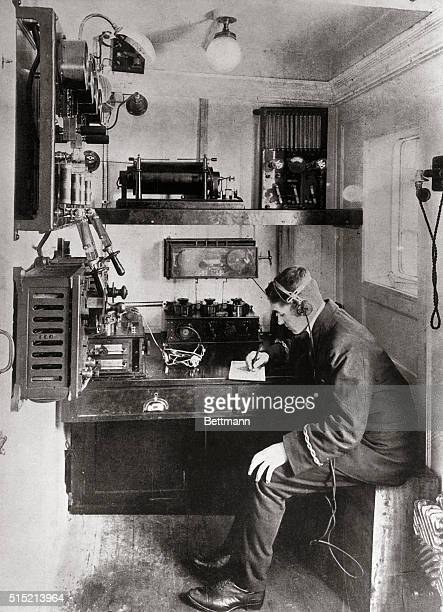 Sinking of the Titanic: A re-enactment of the scene in the wireless room of the SS Carpathia where the liner's distress signals were first picked up...