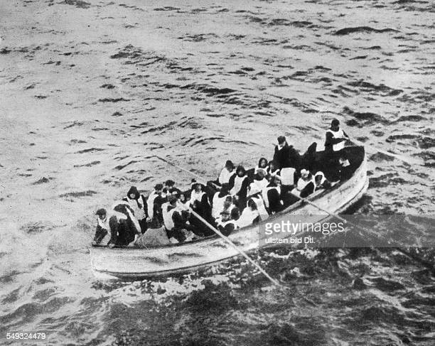 Sinking of the Titanic April 1912 lifeboat of the Titanic seen from the deck of the ship Carpathia