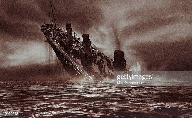 sinking passenger steamliner (digital) - sinking stock pictures, royalty-free photos & images