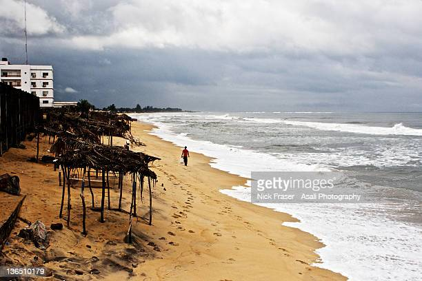 sinkor beach, monrovia, liberia - monrovia liberia stock photos and pictures