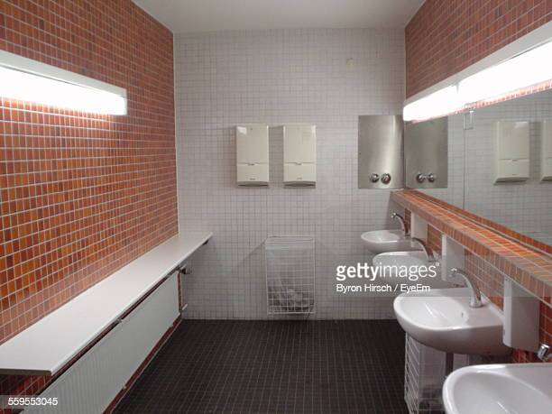 Sinks And Mirror In Public Restroom. Public Restroom Stock Photos and Pictures   Getty Images