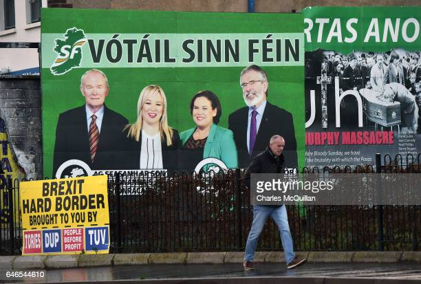 Sinn Fein election posters and billboards on view along the nationalist Falls road on March 1 2017 in Belfast Northern Ireland Voters in Northern...