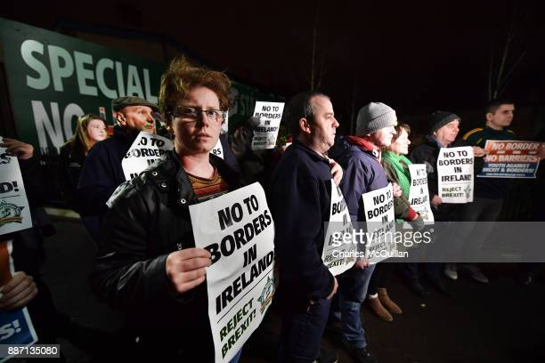 Sinn Fein hold an antiBrexit rally on December 6 2017 in Belfast Northern Ireland Brexit negotiations broke down earlier this week after the DUP led...