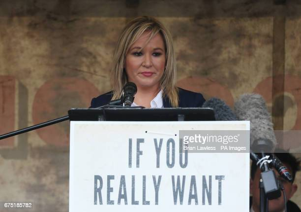 Sinn Fein leader for Northern Ireland Michelle O'Neill addresses a memorial event in Cappagh, Co Tyrone, commemorating the 30th anniversary of the...