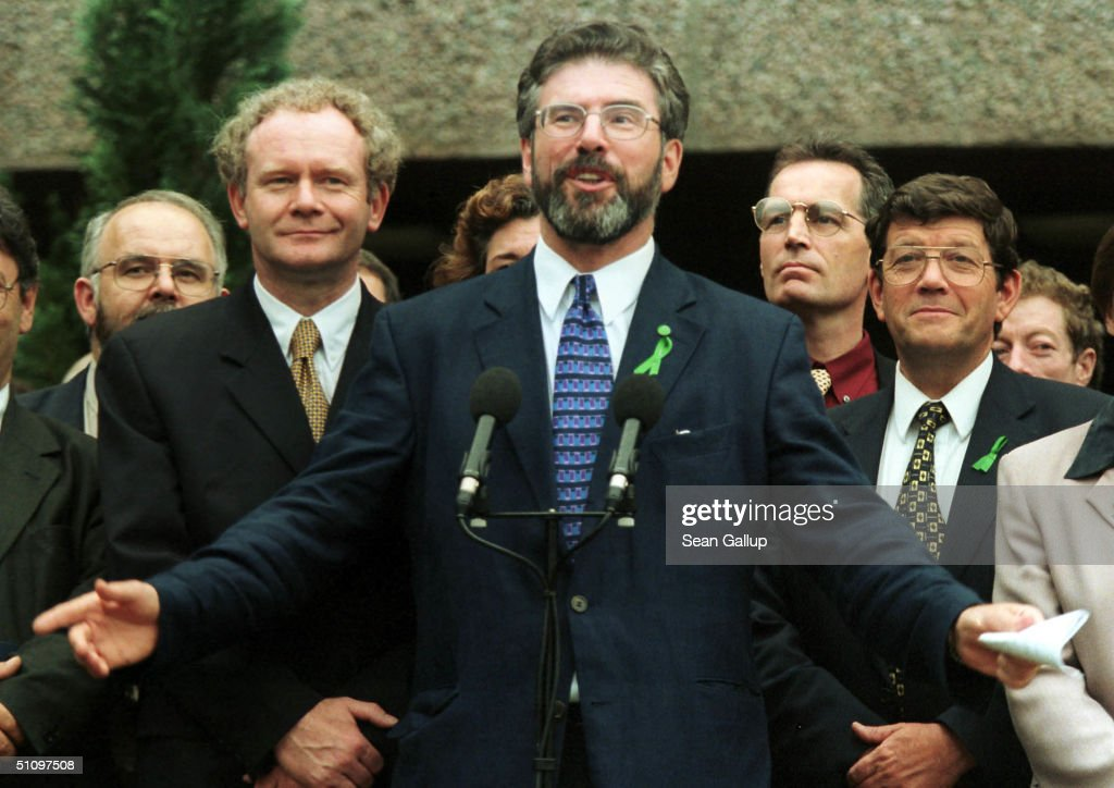 In focus good friday agreement 20th anniversary photos and images sinn fein leader gerry adams c flanked by other members of the sinn platinumwayz