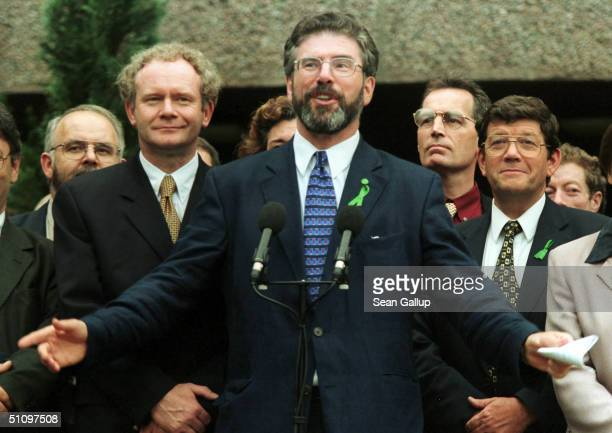 Sinn Fein Leader Gerry Adams Flanked By Other Members Of The Sinn Fein Negotiating Team Including Chief Negotiator Martin Mcguinness Voices His...
