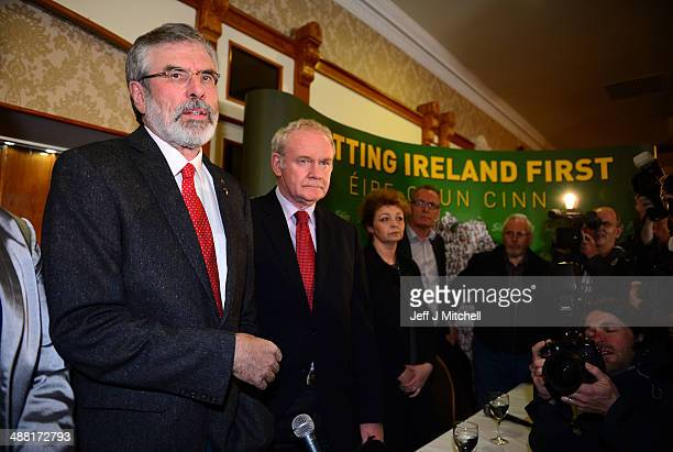 Sinn Fein Leader Gerry Adams speaks alongside Deputy First Minister of Northern Ireland Martin McGuinness during a press conference at Balmoral Hotel...
