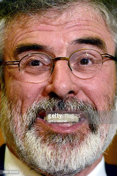 Sinn Fein Leader Gerry Adams speaks during a press conference at Balmoral Hotel after he was released from Antrim PSNI Station without charge...