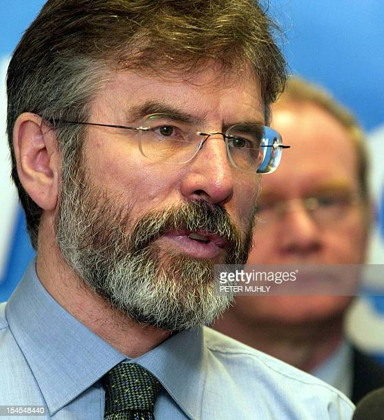 Sinn Fein leader Jerry Adams speaks at a press conference in Belfast, Northern Ireland 03 February about the decision by the Irish Republican Army to...