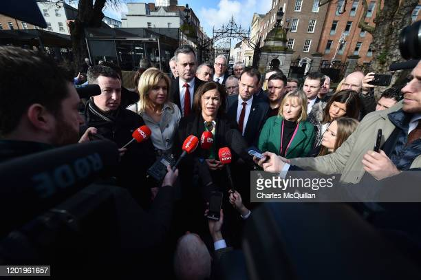 Sinn Fein leader Mary Lou McDonald addresses the mediaas she arrives for the reconvening of the 33rd Dail Eireann following the recent Irish Election...