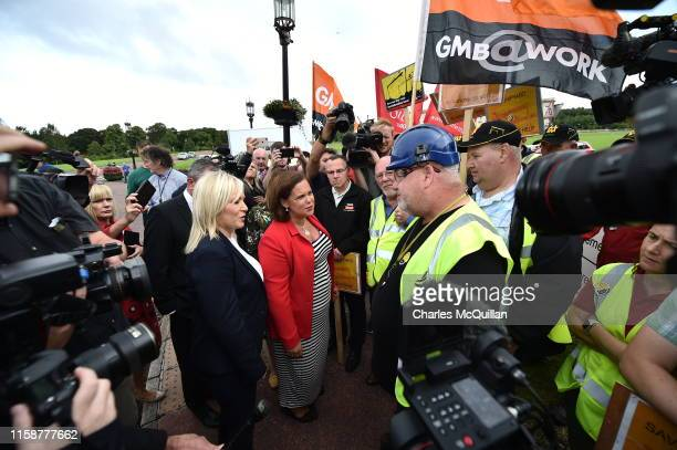 Sinn fein leader Mary Lou McDonald and deputy leader Michelle O'Neill speak to protesters following her meeting with Prime Minister Boris Johnson at...