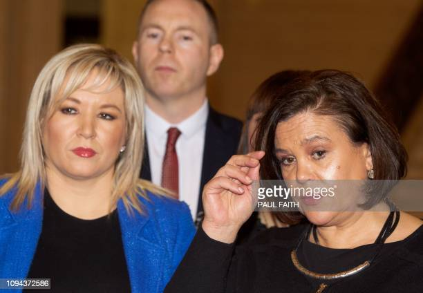 Sinn Fein Leader Mary Lou McDonald and Sinn Fein Northern Leader Michelle O'Neill speak to the media in the Great Hall at the Government Buildings on...