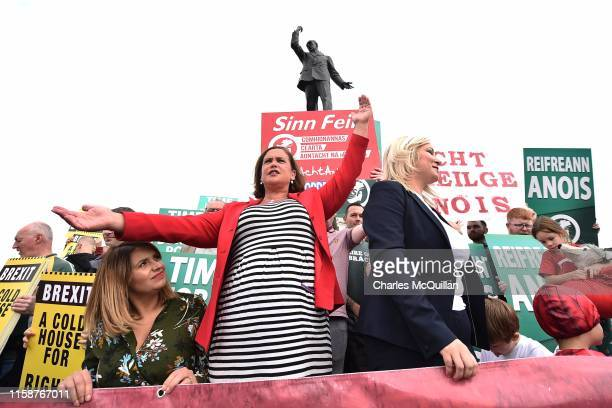 Sinn fein leader Mary Lou McDonald and Sinn Fein Vice President Michelle O'Neill join a Brexit protest following their meeting with Prime Minister...