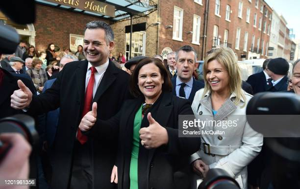 Sinn Fein leader Mary Lou McDonald arrives at the reconvening of the 33rd Dail Eireann following the recent Irish Election on February 20, 2020 in...