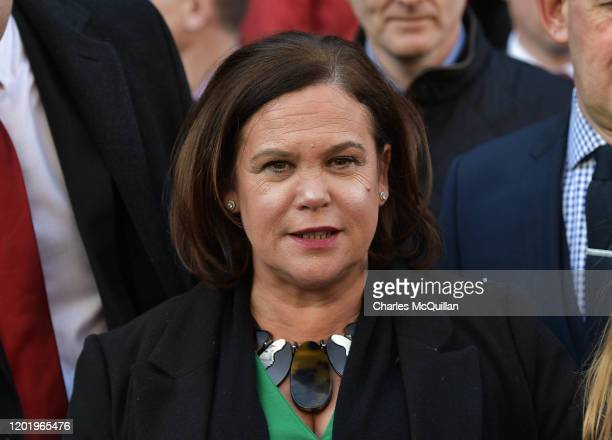 Sinn Fein leader Mary Lou McDonald arrives for the reconvening of the 33rd Dail Eireann following the recent Irish Election on February 20, 2020 in...