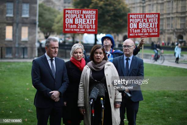 Sinn Fein Leader Mary Lou McDonald arrives on college green to speak with journalists ahead of a meeting with Britain's Prime Minister Theresa May,...