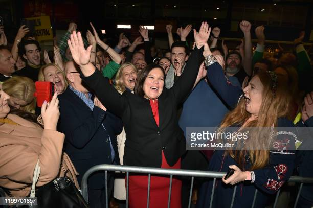 Sinn Fein leader Mary Lou McDonald celebrates with her supporters after being elected at the RDS Count centre on February 9, 2020 in Dublin, Ireland....