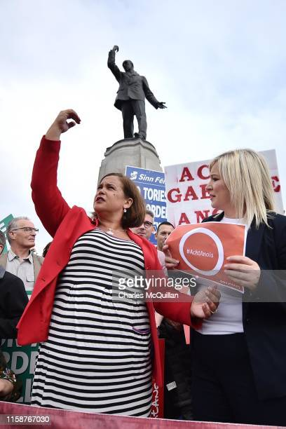 Sinn fein leader Mary Lou McDonald emulates the pose of the Edward Carson statue as she and Sinn Fein Vice President Michelle O'Neill join a Brexit...