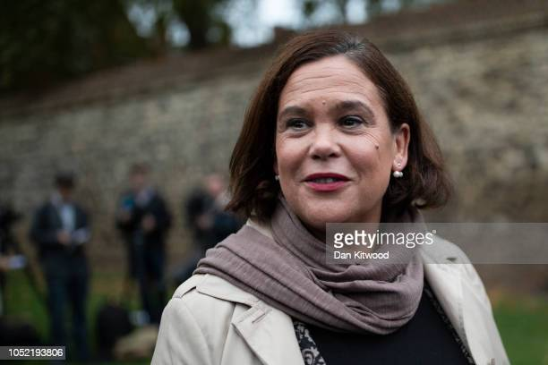Sinn Fein Leader Mary Lou McDonald leaves college green after speaking with journalists ahead of a meeting with Britain's Prime Minister Theresa May...