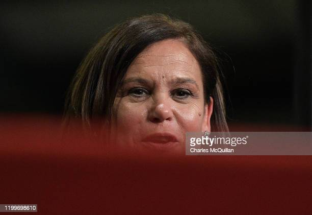 Sinn Fein leader Mary Lou McDonald pictured at the RDS Count centre on February 9, 2020 in Dublin, Ireland. Ireland has gone to the polls following...