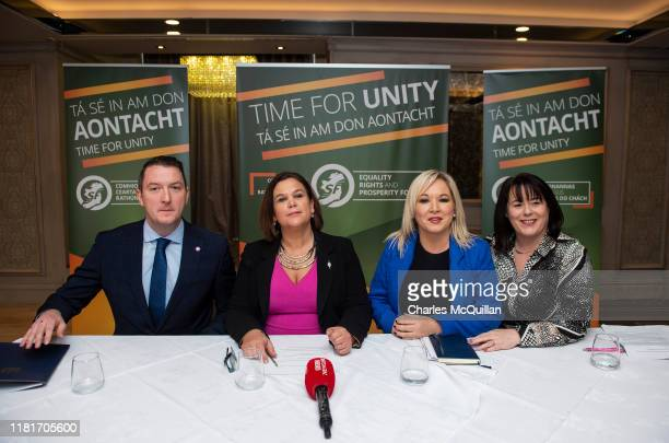 Sinn Fein leader Mary Lou McDonald sits alongside deputy leader Michelle O'Neill , North Belfast candidate John Finucane and Fermanagh and South...
