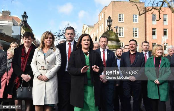 Sinn Fein leader Mary Lou McDonald speaks to the media as she arrives for the reconvening of the 33rd Dail Eireann following the recent Irish...
