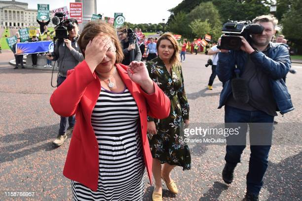 Sinn Fein leader Mary Lou McDonald speaks to the media following her meeting with Prime Minister Boris Johnson at Stormont on July 31, 2019 in...