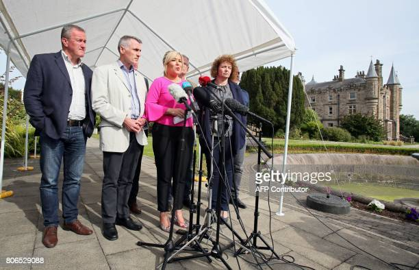 Sinn Fein leader Michelle O'Neill gives a statement to the press at Stormont Castle in Belfast on July 3 2017 as talks continue to form a...