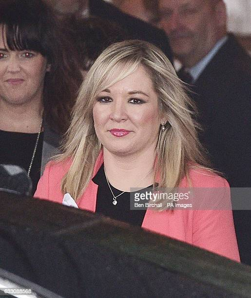 Sinn Fein leader Michelle O'Neill leaves Cardiff City Hall after a Joint Ministerial Committee chaired by Prime Minister Theresa May.