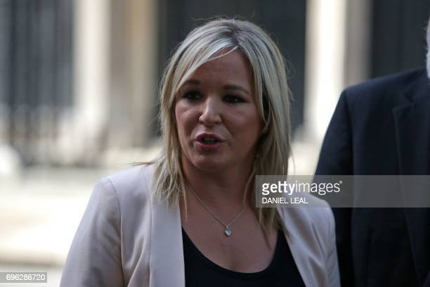 Sinn Fein leader Michelle O'Neill speaks to members of the media outside 10 Downing Street in central London on June 15 after holding talks with with...