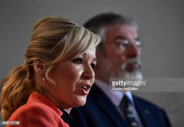 Sinn Fein Northern leader Michelle O'Neill and Sinn Fein President Gerry Adams hold a pre election press conference at the Irish Culture Centre on...
