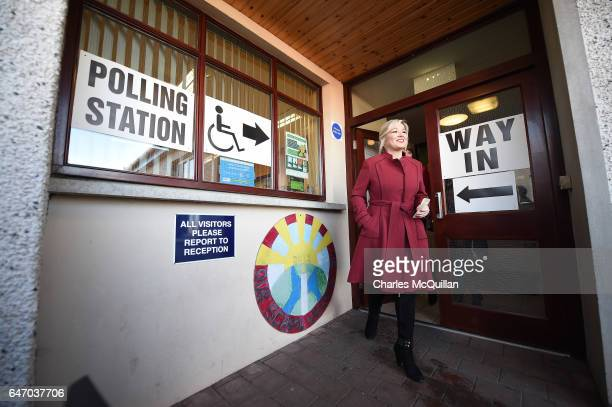Sinn Fein northern leader Michelle O'Neill casts her vote at Clonoe primary school on March 2, 2017 in Coalisland, Northern Ireland. Voters in the...