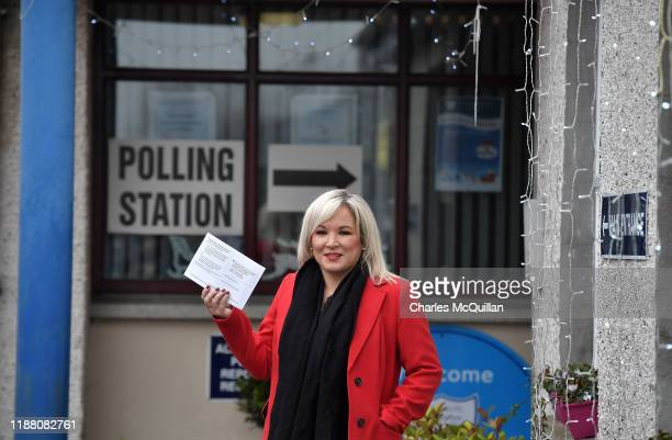Sinn Fein northern leader Michelle O'Neill casts her vote in the General Election at on December 12 2019 in Coalisland United Kingdom The current...