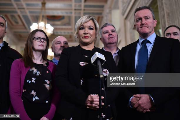 Sinn Fein northern leader Michelle O'Neill gives her reaction following the NI Secretary of State Karen Bradley statement that talks between the...