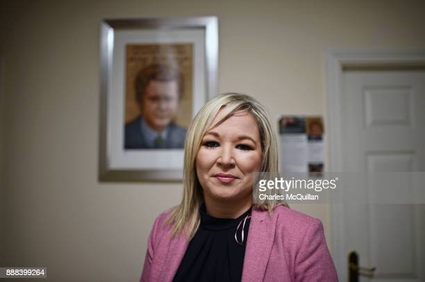 Sinn Fein northern leader Michelle O'Neill gives her reaction to the Brexit agreement reached in Brussels this morning to reporters at the Sinn Fein...