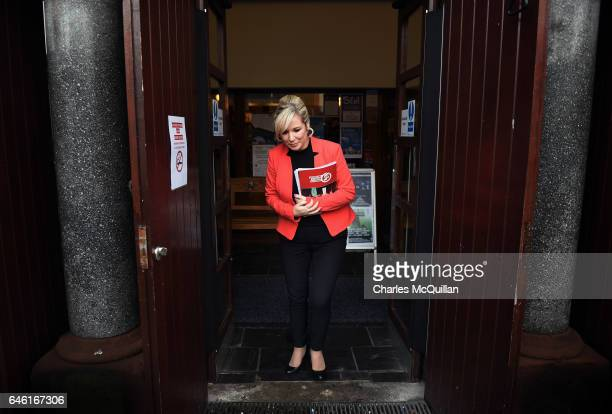Sinn Fein Northern leader Michelle O'Neill pictured leaving the Irish Culture Centre after holding a pre election press conference on February 28,...