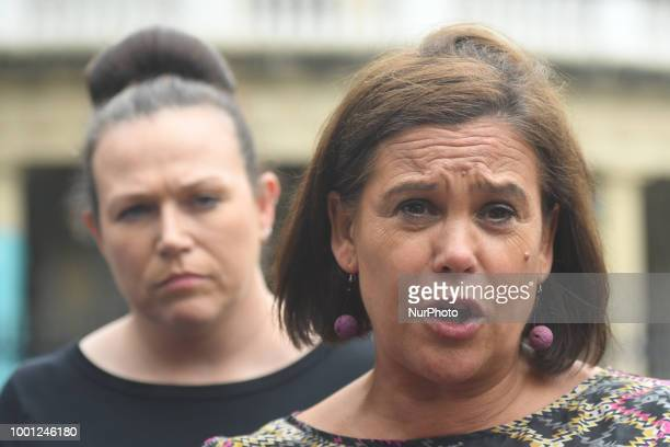 Sinn Fein party Mary Lou McDonald and TD Louise O'Reilly call on MP Ian Paisley Jr to resign during a press conference outside Leinster House in...